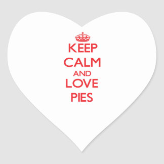 Keep calm and love Pies Heart Stickers
