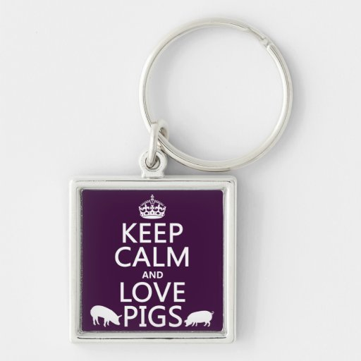 Keep Calm and Love Pigs (all colours) Keychains