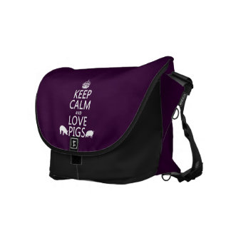 Keep Calm and Love Pigs (all colours) Courier Bags