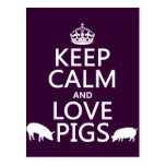 Keep Calm and Love Pigs (all colours) Post Card