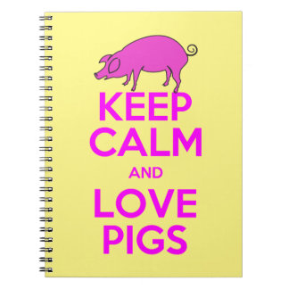 Keep Calm and Love Pink Pigs Spiral Notebook