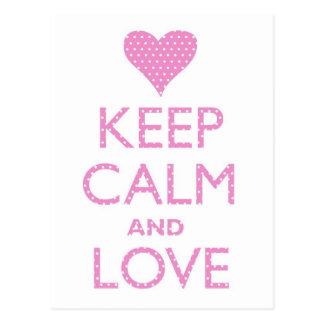 Keep Calm and Love Pink Polka Dots Postcard