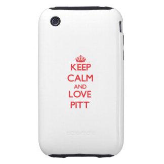 Keep calm and love Pitt Tough iPhone 3 Cases