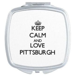 Keep Calm and love Pittsburgh Vanity Mirror