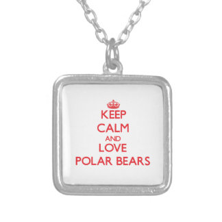 Keep calm and love Polar Bears Square Pendant Necklace