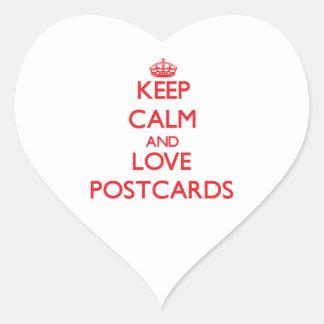 Keep calm and love Postcards Heart Sticker