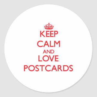 Keep calm and love Postcards Round Stickers