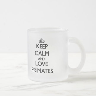 Keep calm and Love Primates Frosted Glass Coffee Mug