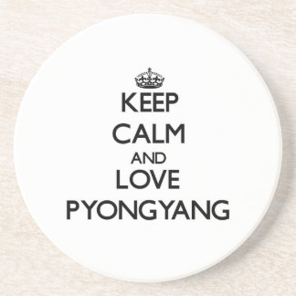 Keep Calm and love Pyongyang Beverage Coasters