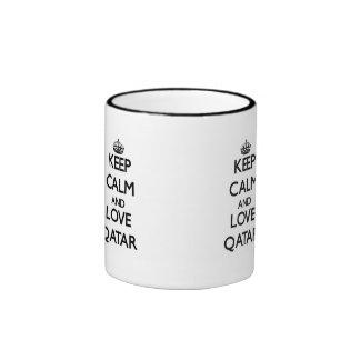 Keep Calm and Love Qatar Coffee Mugs