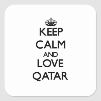Keep Calm and Love Qatar Square Stickers