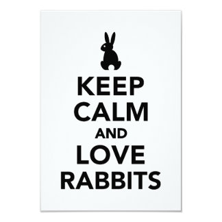 Keep calm and love rabbits 3.5x5 paper invitation card