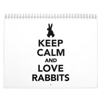 Keep calm and love rabbits calendar