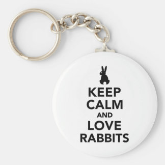 Keep calm and love rabbits basic round button keychain