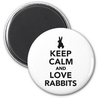 Keep calm and love rabbits 2 inch round magnet