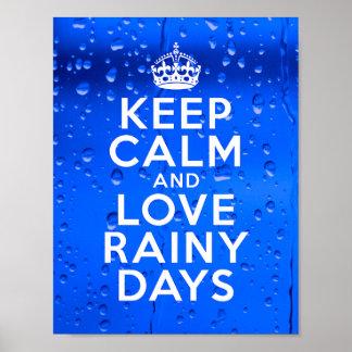 "Keep Calm and Love Rainy Days Poster 8.5 x 11"""