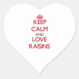 Keep calm and love Raisins Heart Sticker
