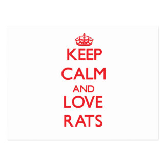 Keep calm and love Rats Post Card