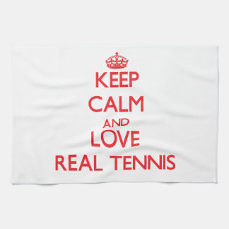Keep calm and love Real Tennis Kitchen Towel