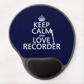Keep Calm and Love Recorder (any background color) Gel Mouse Pad