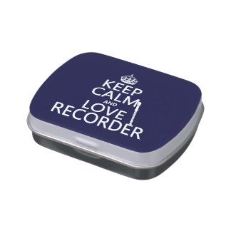 Keep Calm and Love Recorder (any background color) Jelly Belly Candy Tin