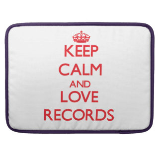 Keep calm and love Records Sleeves For MacBook Pro