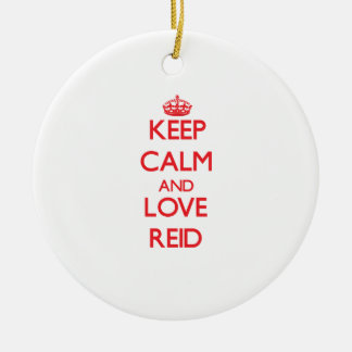 Keep Calm and Love Reid Double-Sided Ceramic Round Christmas Ornament