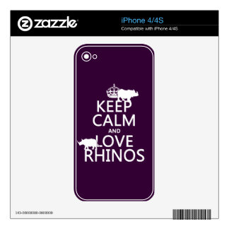 Keep Calm and Love Rhinos (any background color) iPhone 4 Decal