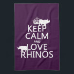 "Keep Calm and Love Rhinos (any background color) Kitchen Towel<br><div class=""desc"">This design reads &#39;Keep Calm and Love Rhinos&#39;. Two rhino silhouettes stand on the words. It&#39;s a design popular with everyone who loves rhinos and rhino conservation. You can change the background colour really easily, just press customize. Or, if you want to see the design on a different product, or...</div>"