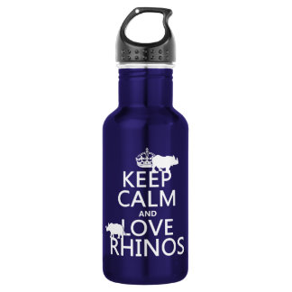 Keep Calm and Love Rhinos (any background color) Water Bottle