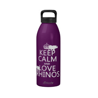 Keep Calm and Love Rhinos any background color Water Bottles