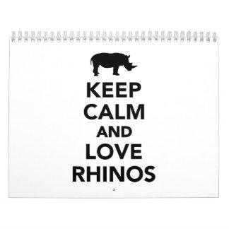 Keep calm and love Rhinos Calendar