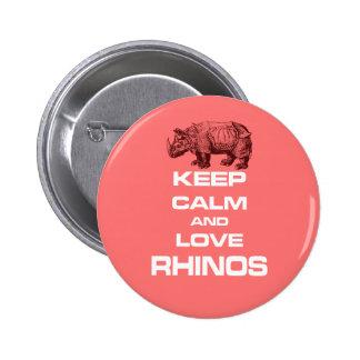 Keep Calm and Love Rhinos Rhinoceros Cool Design 2 Inch Round Button