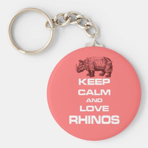Keep Calm and Love Rhinos Rhinoceros Cool Design Keychain