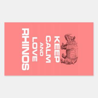 Keep Calm and Love Rhinos Rhinoceros Cool Design Rectangular Sticker