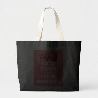 Keep Calm and Love Rhinos Rhinoceros Fun Design Canvas Bag