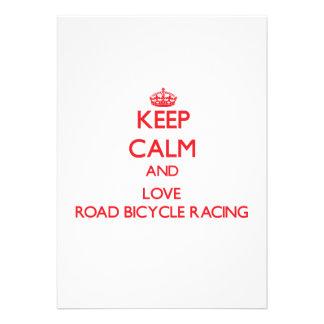 Keep calm and love Road Bicycle Racing Custom Invites
