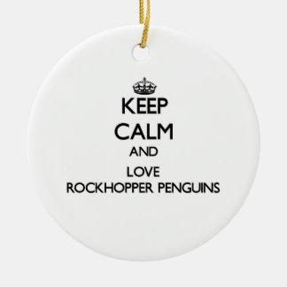 Keep calm and Love Rockhopper Penguins Christmas Tree Ornaments