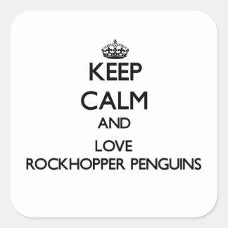 Keep calm and Love Rockhopper Penguins Square Sticker