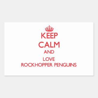 Keep calm and love Rockhopper Penguins Rectangular Sticker