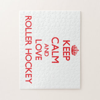 Keep calm and love Roller Hockey Jigsaw Puzzle