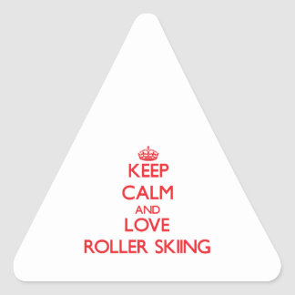 Keep calm and love Roller Skiing Triangle Stickers