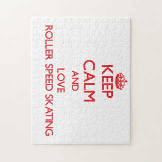 Keep calm and love Roller Speed Skating Jigsaw Puzzle