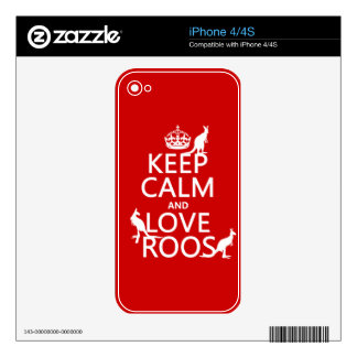 Keep Calm and Love 'Roos (kangaroo)  - all colors Skin For The iPhone 4S