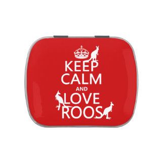 Keep Calm and Love Roos (Kangaroos) Jelly Belly Candy Tin