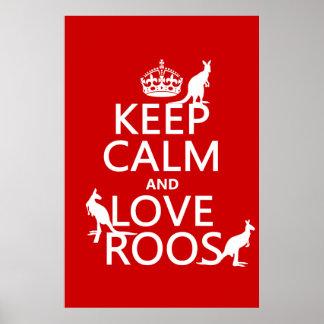 Keep Calm and Love Roos (Kangaroos) Poster