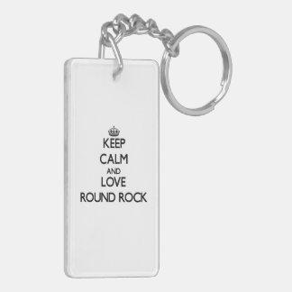 Keep Calm and love Round Rock Acrylic Keychain