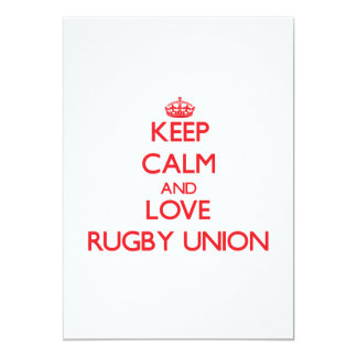 Keep calm and love Rugby Union 5x7 Paper Invitation Card