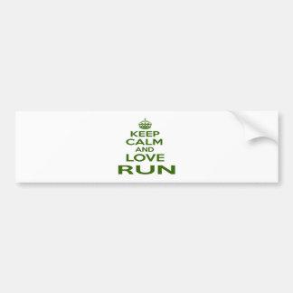 Keep Calm And Love Run Car Bumper Sticker