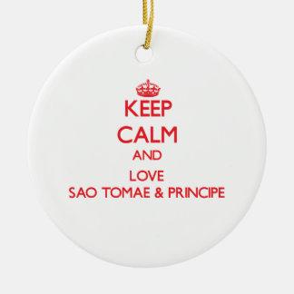 Keep Calm and Love Sao Tomae & Principe Christmas Tree Ornament